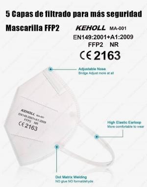 Mascarilla adulto FFP2 Con  marcado CE 2163  y referencia a la norma EN 149:2001 + A1:2009